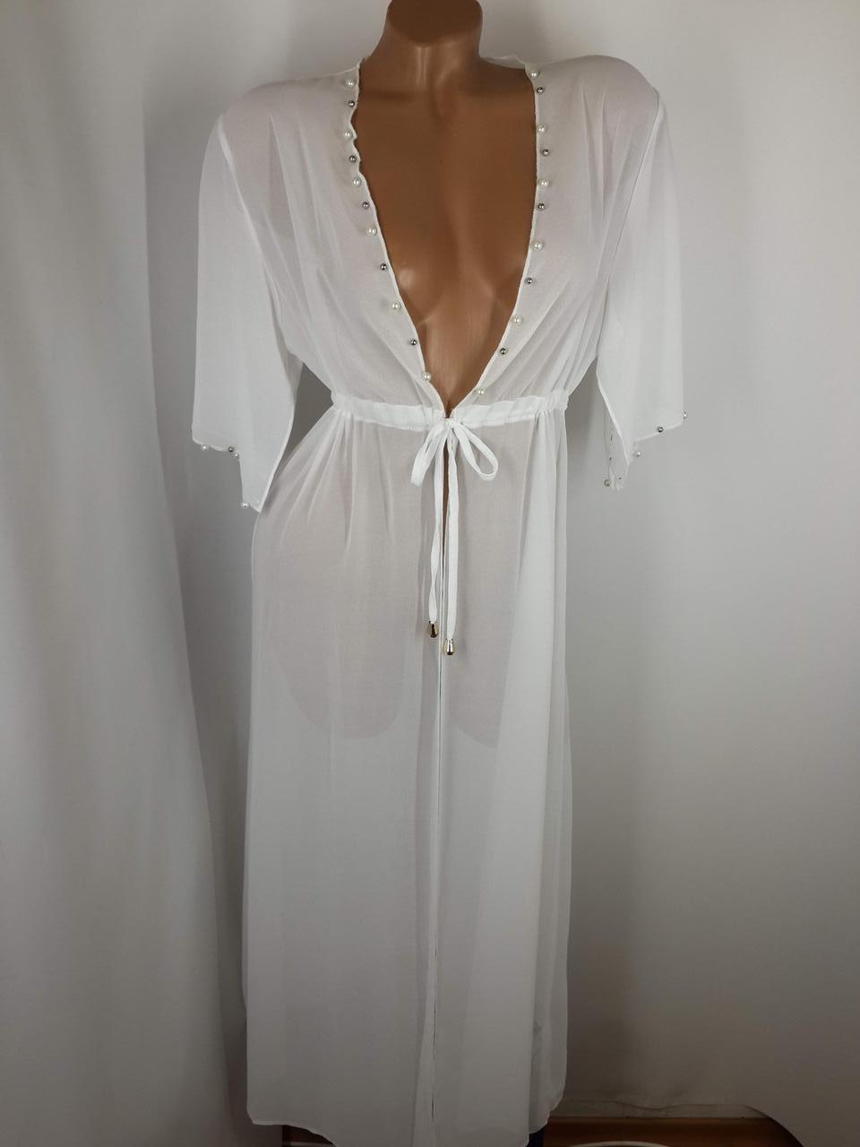 Пляжный халат белый Бусины 1730 на наши 48-50 размеры.