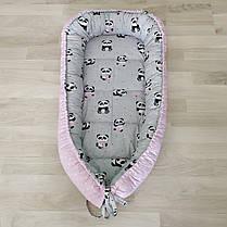 Детский кокон позиционер для новорожденных розовый, фото 3