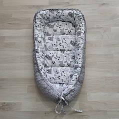 Детский кокон позиционер для новорожденных серый