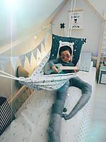 Детский гамак тканевый, размер 90*140см на 3-6 лет, качель подвесная детская тканевая