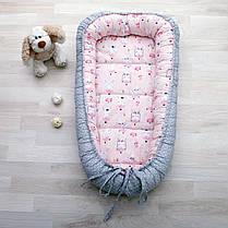 Детский кокон позиционер для новорожденных розовый панда, фото 3