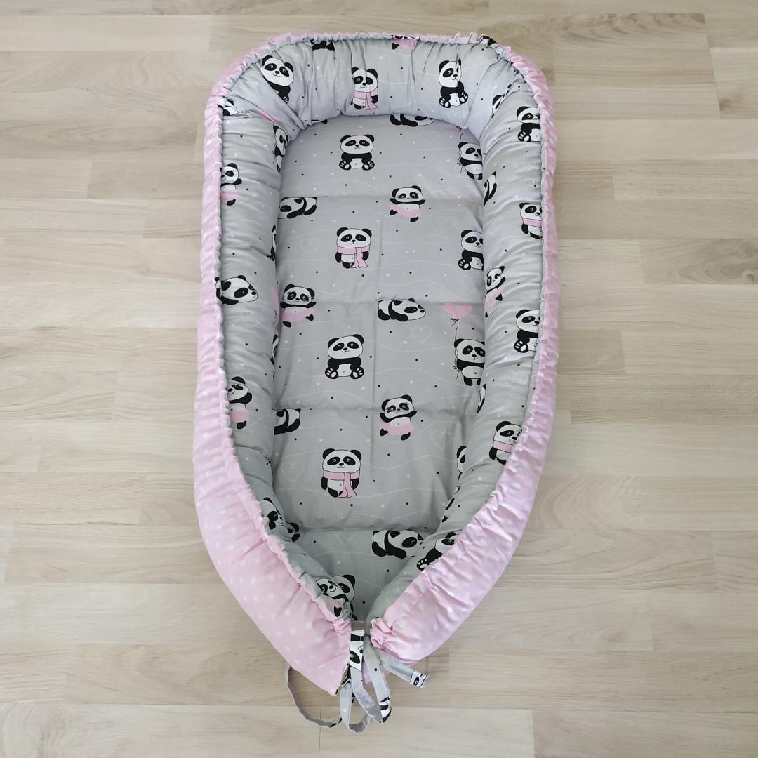 Детский кокон позиционер для новорожденных розовый панда