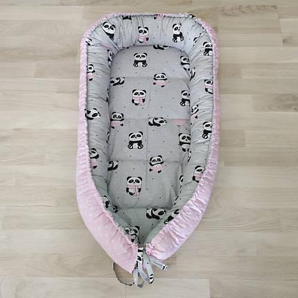 Детский кокон позиционер для новорожденных розовый панда, фото 2