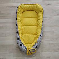 Детский кокон позиционер для новорожденных желтый, фото 3