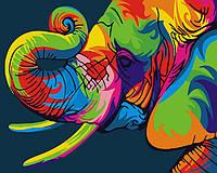 Картина по номерам на холсте Радужный слон, GX26196