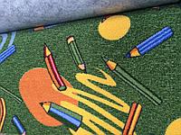 Детский ковролин Карандаши зеленый фон 2м 3м