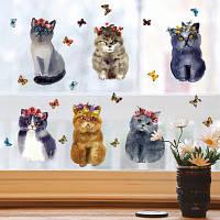 3-D наклейка для интерьера коты в цветах 50*70 см