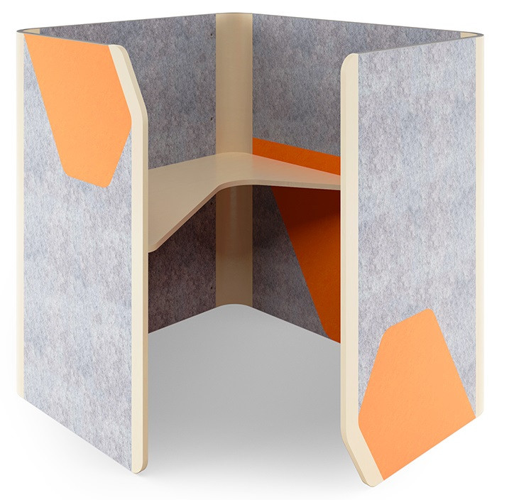Кабина офисная Cabi фетр серый/фетр оранжевый, белый беж TM AMF