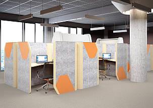 Кабина офисная Cabi фетр серый/фетр оранжевый, белый беж TM AMF, фото 3