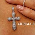 Серебряный крестик с фианитами - Женский серебряный крестик, фото 4