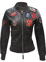Женский бомбер Top Gun Women's Vegan Leather Bomber Jacket (коричневый), фото 1