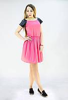Летнее платье  бэби-долл розового цвета с кожаными рукавами, фото 1