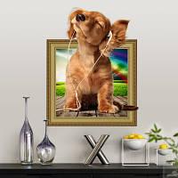 3-D наклейка для интерьера собака в наушниках