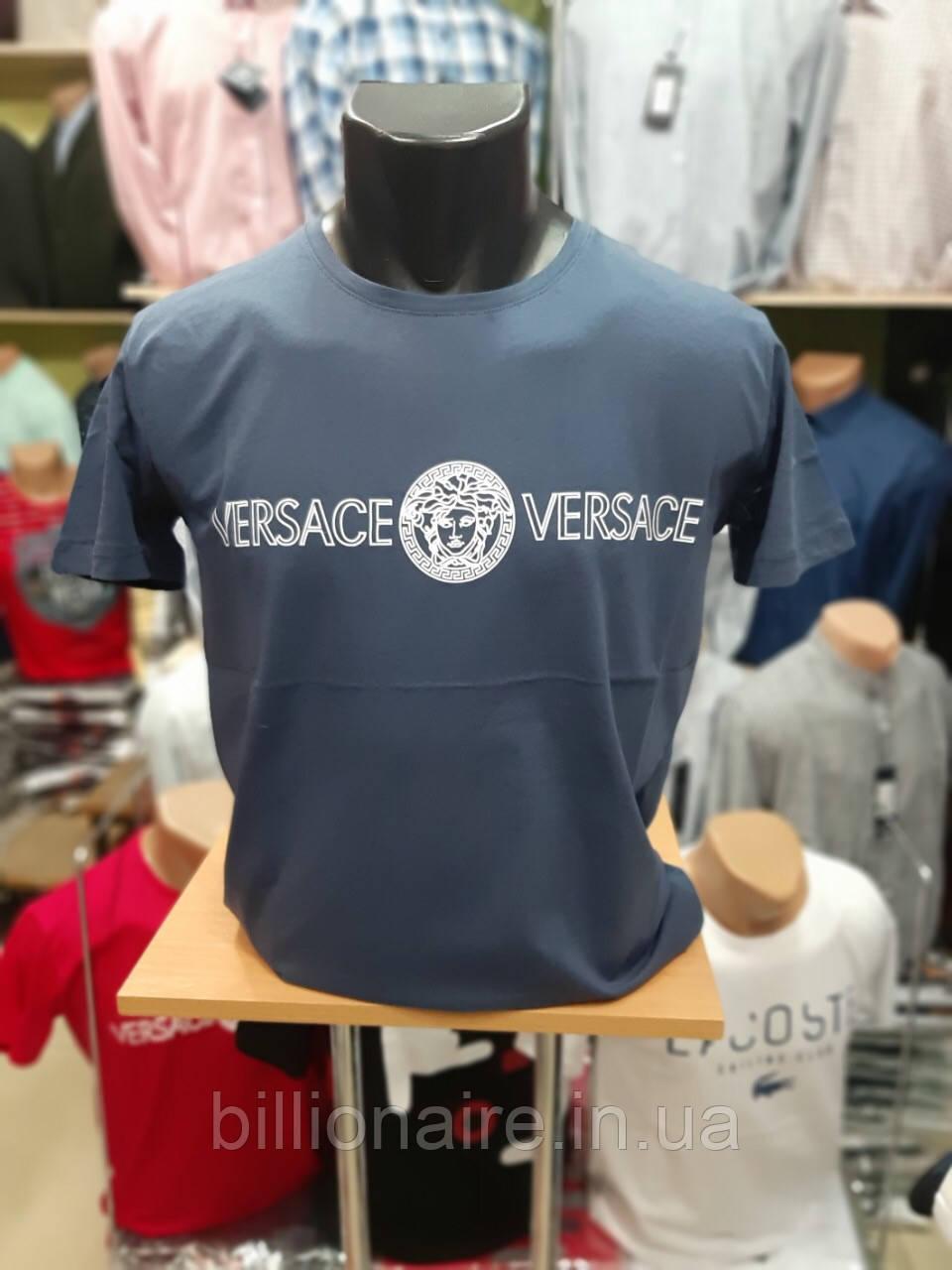 Футболка чоловіча Versace Репліка Синій