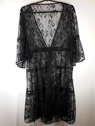 Пляжный черный халат  Бабочки 2717 на наши 46-52 размеры., фото 2