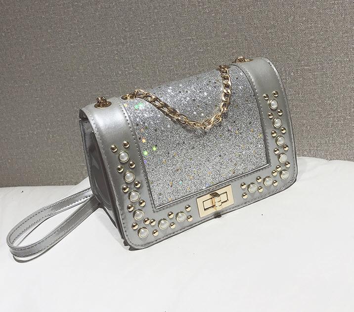 Елегантна глянсова сумка клатч з блискітками, стразами та камінням