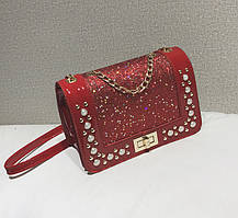 Елегантна глянсова сумка клатч з блискітками, стразами та камінням, фото 2