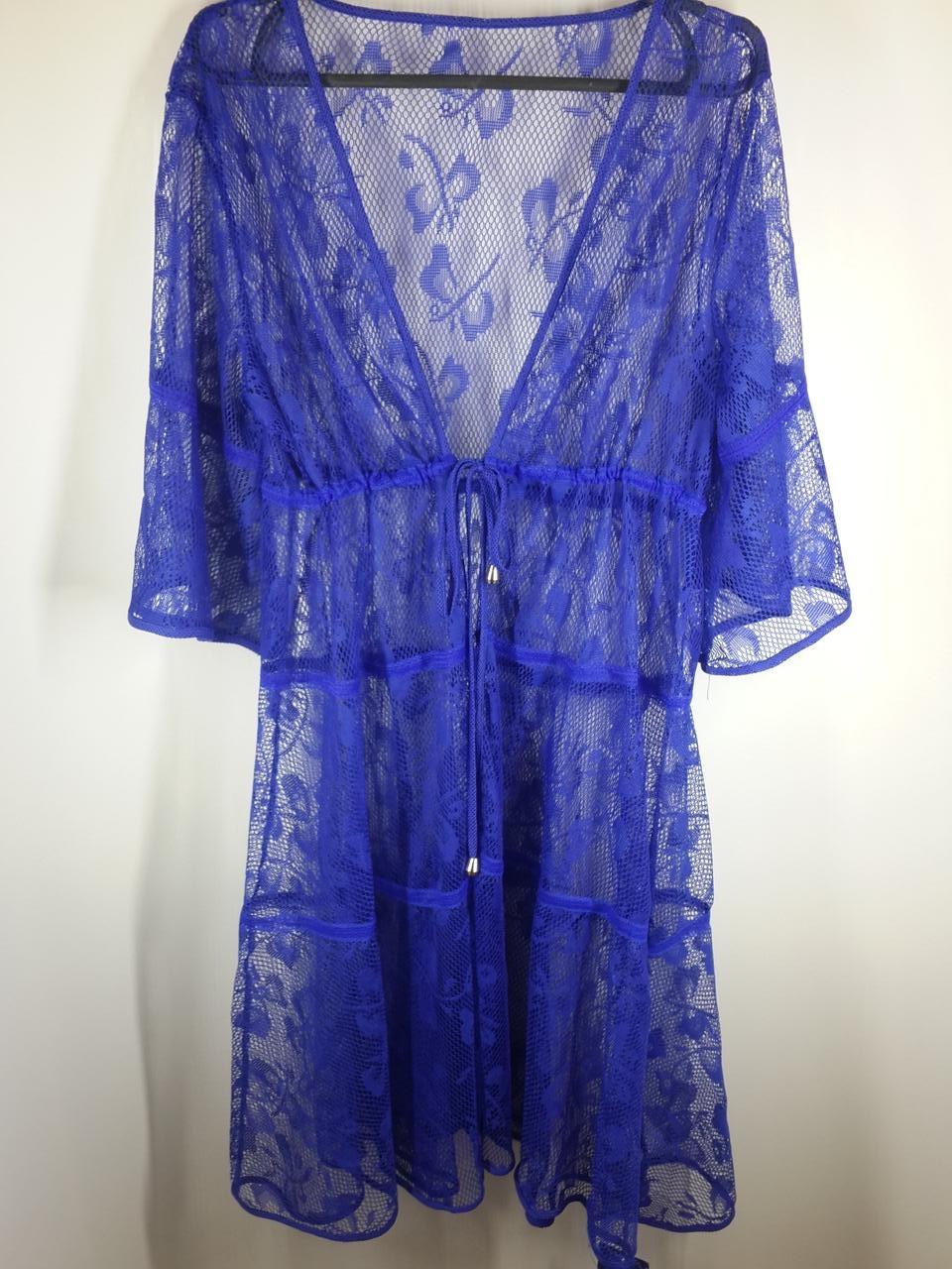 Пляжный синий халат  Бабочки 2717 на наши 46-48 размер.