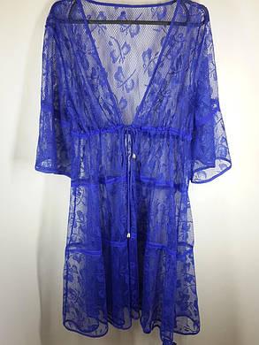Пляжный синий халат  Бабочки 2717 на наши 46-48 размер., фото 2