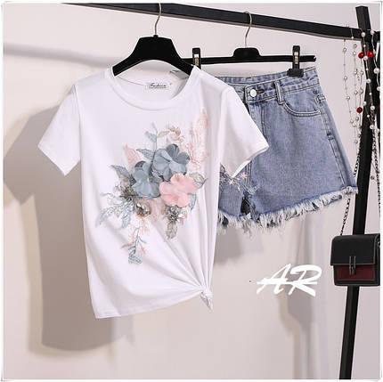 Костюм футболка і шорти джинсові з аплікацією S-XL, фото 2