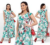 Летнее принтованное платье в пол в больших размерах без рукава 1BR1588