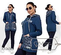 Джинсовый женский спортивный костюм в больших размерах с удлиненной кофтой 1BR1605