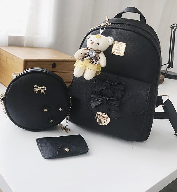 Элегантный набор с брелком мишкой 3в1, рюкзак сумка визитница