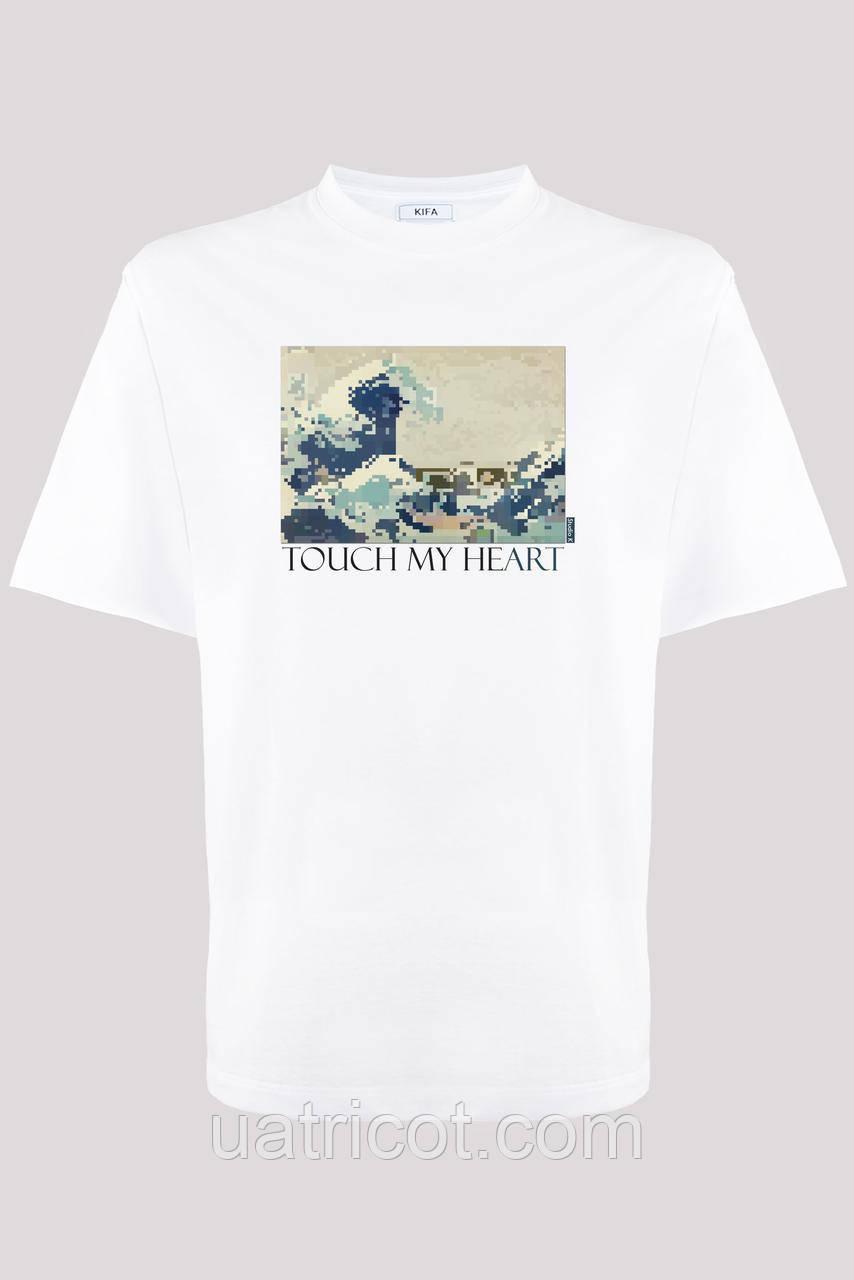 Футболка мужская KIFA ФМХ-019/15 TOUCH MY HEART Hokusai белая