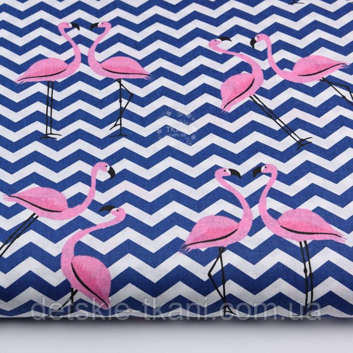 "Ткань хлопковая ""Фламинго на синем зигзаге"" (№2208)"