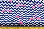 """Ткань хлопковая """"Фламинго на синем зигзаге"""" (№2208), фото 3"""