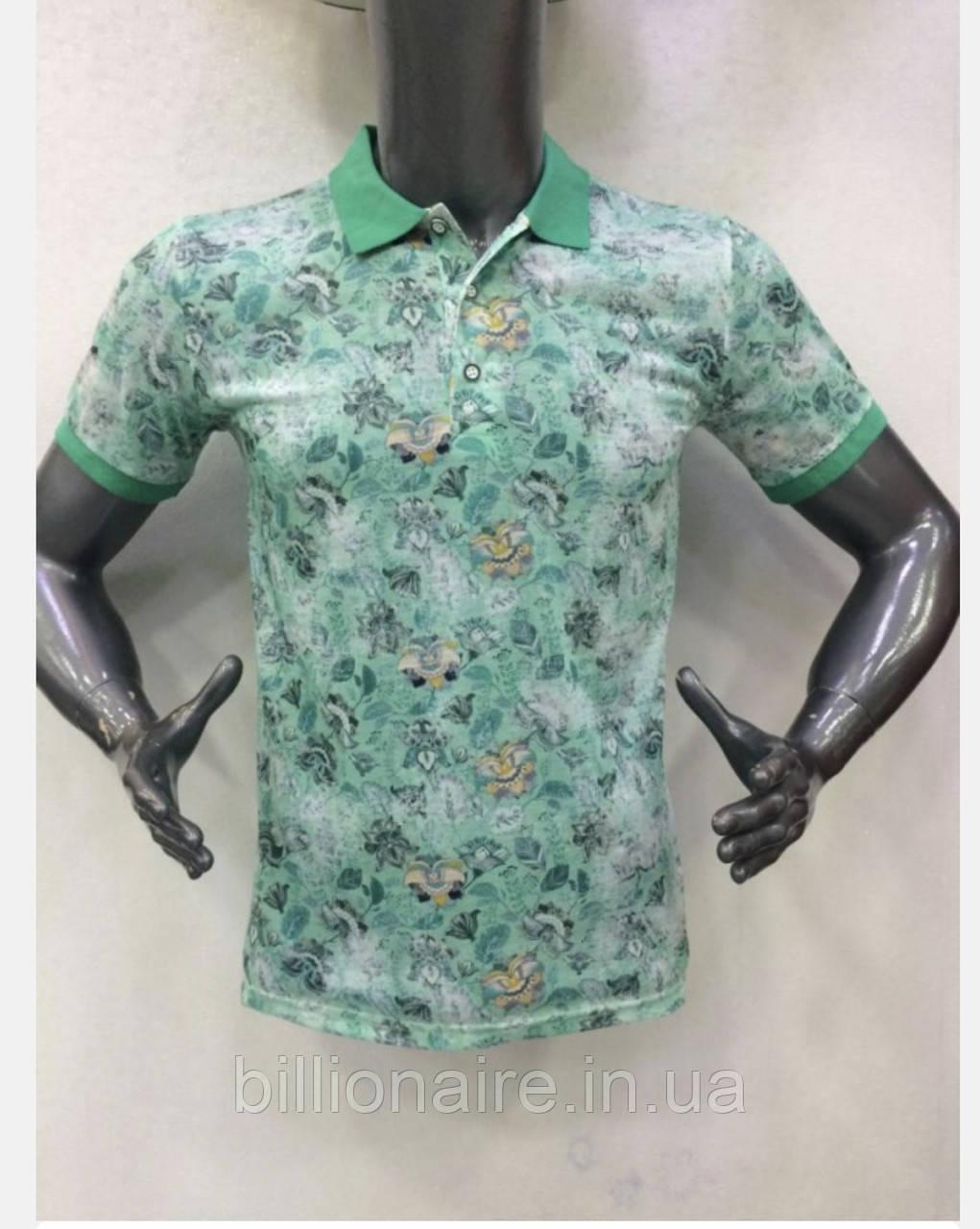 Стильна молодіжна футболка з коміром Зелений