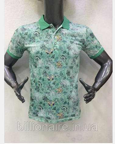 Стильна молодіжна футболка з коміром Зелений, фото 2