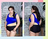 Женский сдельный купальник с разрезами в больших размерах 10BR1633, фото 1