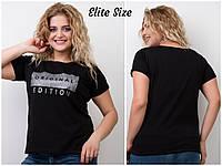 Женская хлопковая футболка в больших размерах 6BR1643, фото 1