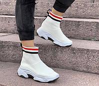 Кроссовки женские Balenciaga sox D2196 белые, фото 1