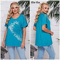 Женская летняя удлиненная футболка в больших размерах 6BR1649, фото 1