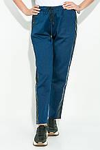 Штаны, брюки женские со светлой вставкой из экокожи 64PD225 (Джинс-черный)