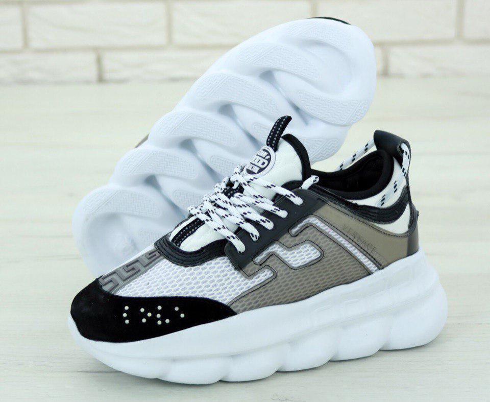 Кроссовки женские Versace Chain Reaction Sneakers 31236 бело-серые