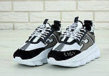 Кроссовки женские Versace Chain Reaction Sneakers 31236 бело-серые, фото 3