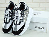 Кроссовки женские Versace Chain Reaction Sneakers 31236 бело-серые, фото 4