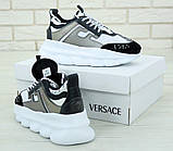 Кроссовки женские Versace Chain Reaction Sneakers 31236 бело-серые, фото 6