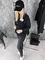 Женская джинсовая куртка Sevenroom D1978 черная, фото 1