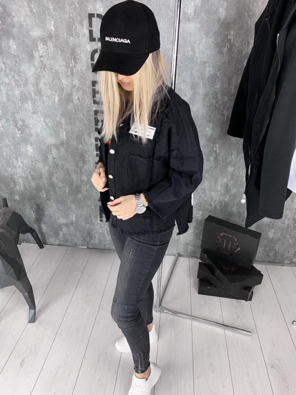 Женская джинсовая куртка Sevenroom D1978 черная