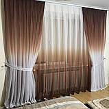 Комплект штор на 3-х метровый карниз «Батист-растяжка» (коричневого цвета), фото 2