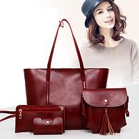 Женская сумка большая, сумочка через плечо, клатч, мини кошелек. Набор 4в1.