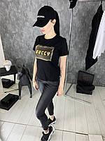 Футболка женская Gucci D1941 черная, фото 1