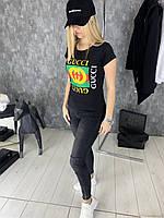 Футболка женская Gucci D2028 черная, фото 1