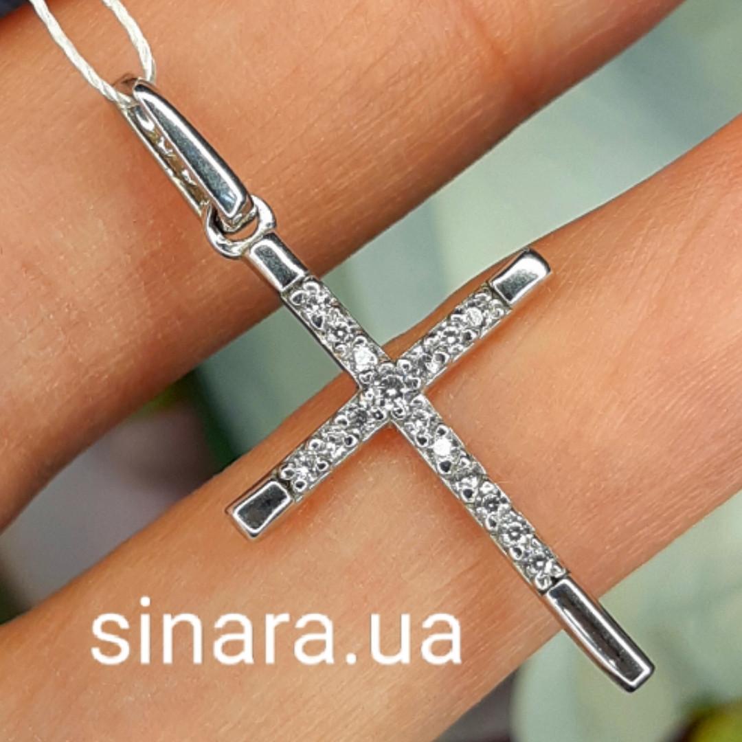 Серебряный родированный Крестик с фианитами  - Женский серебряный крестик