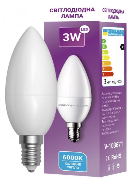 Светодиодная лампа LED C37 3W E14 6000K