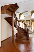 Дубовая лестница с резными балясинами, деревянные лестницы, лестница из дуба, винтовая лестница под заказ